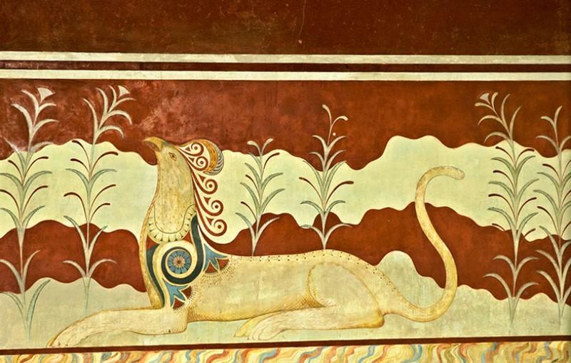 Grifone nella decorazione pittorica parietale della Sala del Trono.
