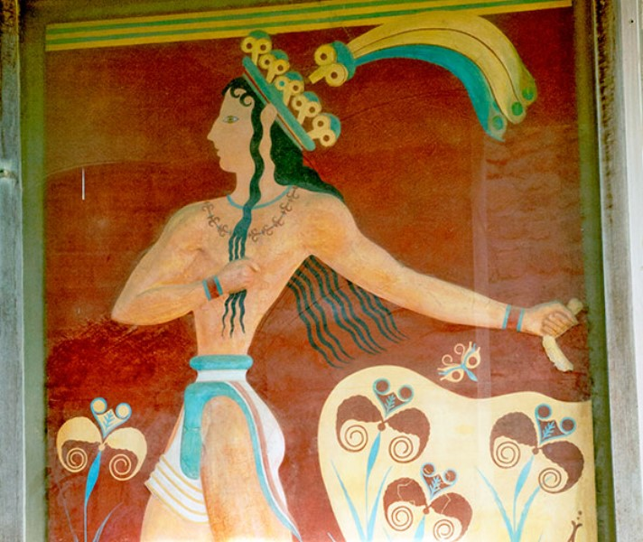 L'affresco del Principe dei Gigli, nei Propilei Meridionali. Knossos Palace