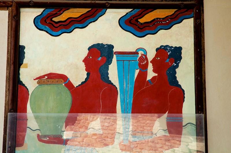 Portatori di vasi ritualii ( Cup-bearers). Affresco nei Propilei Meridionali.