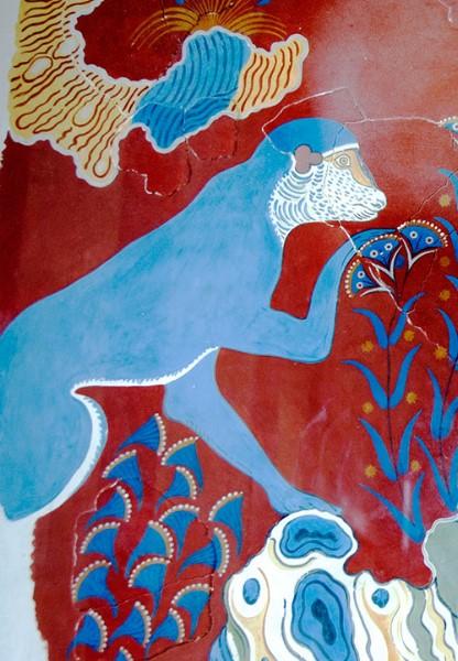 Scimmia blu, in paesaggio roccioso, con fiori. Minoan copy fresco.