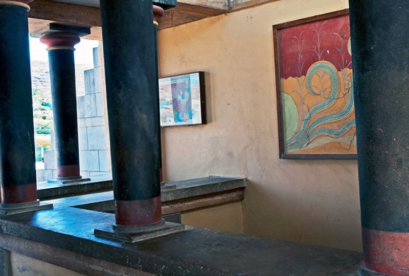 La stanza delle copie degli affreschi. Minoan copies frescoes. Knossos Palace.