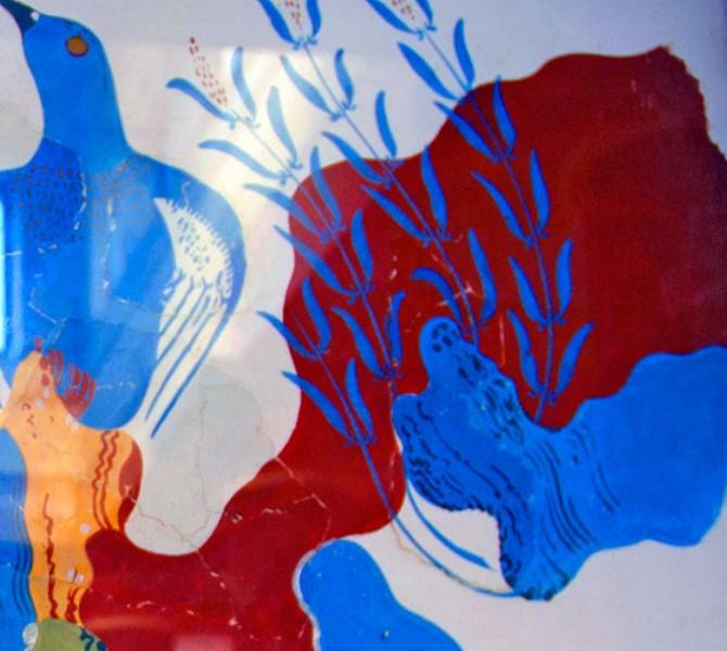 Blue Bird. Affresco con uccello azzurro raffigurato in paesaggio con rocce, rose selvatiche e iris.